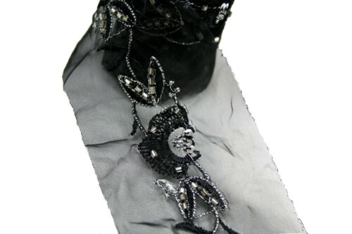 """Black 2-3//8/"""" Beaded Sequin Embroidery Organza Ribbon Trim with Glass Bugle Beads"""
