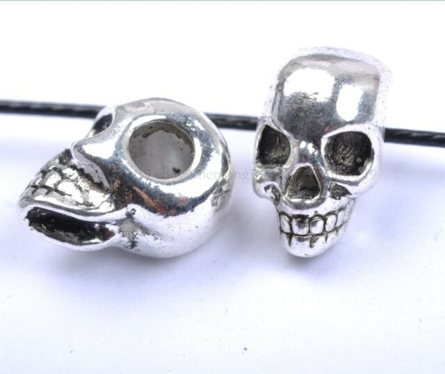 10pcs Tibetan Silver Skull Large Empty Beads 13X10MM SH40