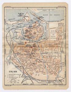 1930 ORIGINAL VINTAGE CITY MAP OF CALAIS / PAS-DE-CALAIS / FRANCE | on