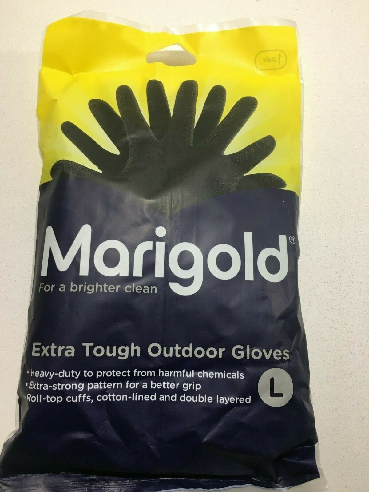 1 pair large (8 1/2) MARIGOLD extra tough outdoor gloves black heavy duty hand