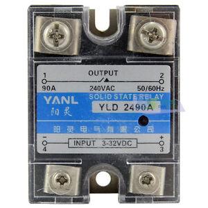 1pcs SSR 90DA Solid State Relay DCAC Input 332VDC Load 240VAC 90A