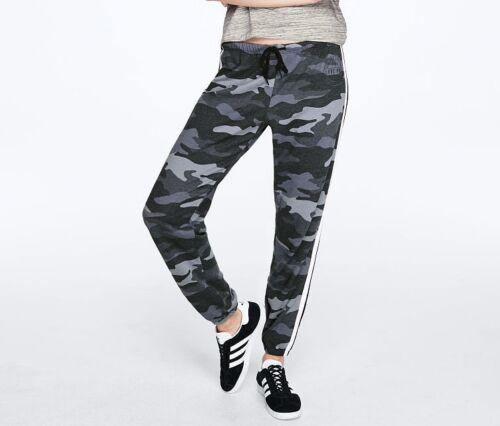 Victoria Secret PINK Black//Grey Camo//Camouflage White Side Stripe Classic Pant L