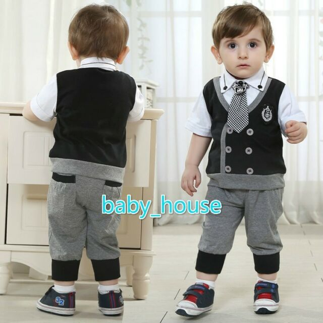 2pcs  Kids Baby Boy Infant  T-shirt Top+Short pants Outfit set Clothes gentleman