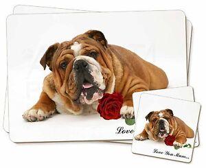 Bulldog-Rosa-039-Love-You-Mum-039-Individual-2x-Manteles-2x-Posavasos-Set-en-G