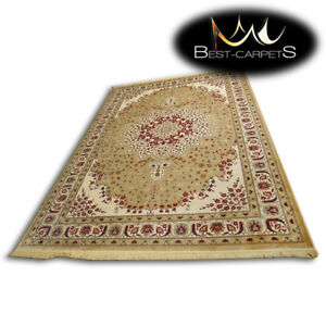 TRADITIONAL-RUG-039-KASZMIR-039-Flowers-fringe-beige-red-classic-hard-wearing-durable