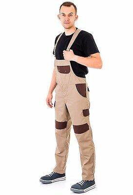 Bib and Brace Overalls Mens Work Trousers Dungarees Knee Pad Multi Pocket BROWN.
