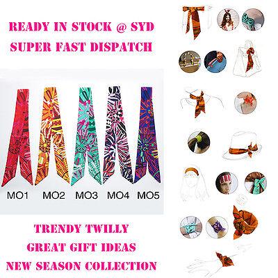 AMIGO Multi-Use Hot Silk Scarf Twilly Wrist Head Band Bag Ribbon Bow Tie Wrap MO