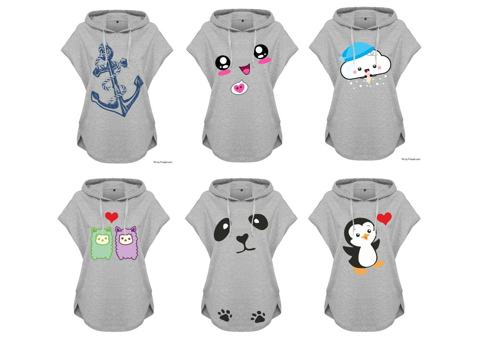Kawaii Hoodie Hoodie Sweater Grey Ladies' Ladies Hoody Various Motifs