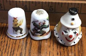 Thimbles 3 Porcelain Clowns
