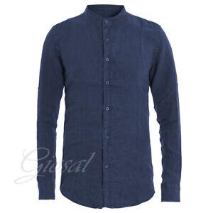 Camicia-Uomo-Collo-Coreano-Tinta-Unita-Blu-Lino-Maniche-Lunghe-Casual-GIOSAL