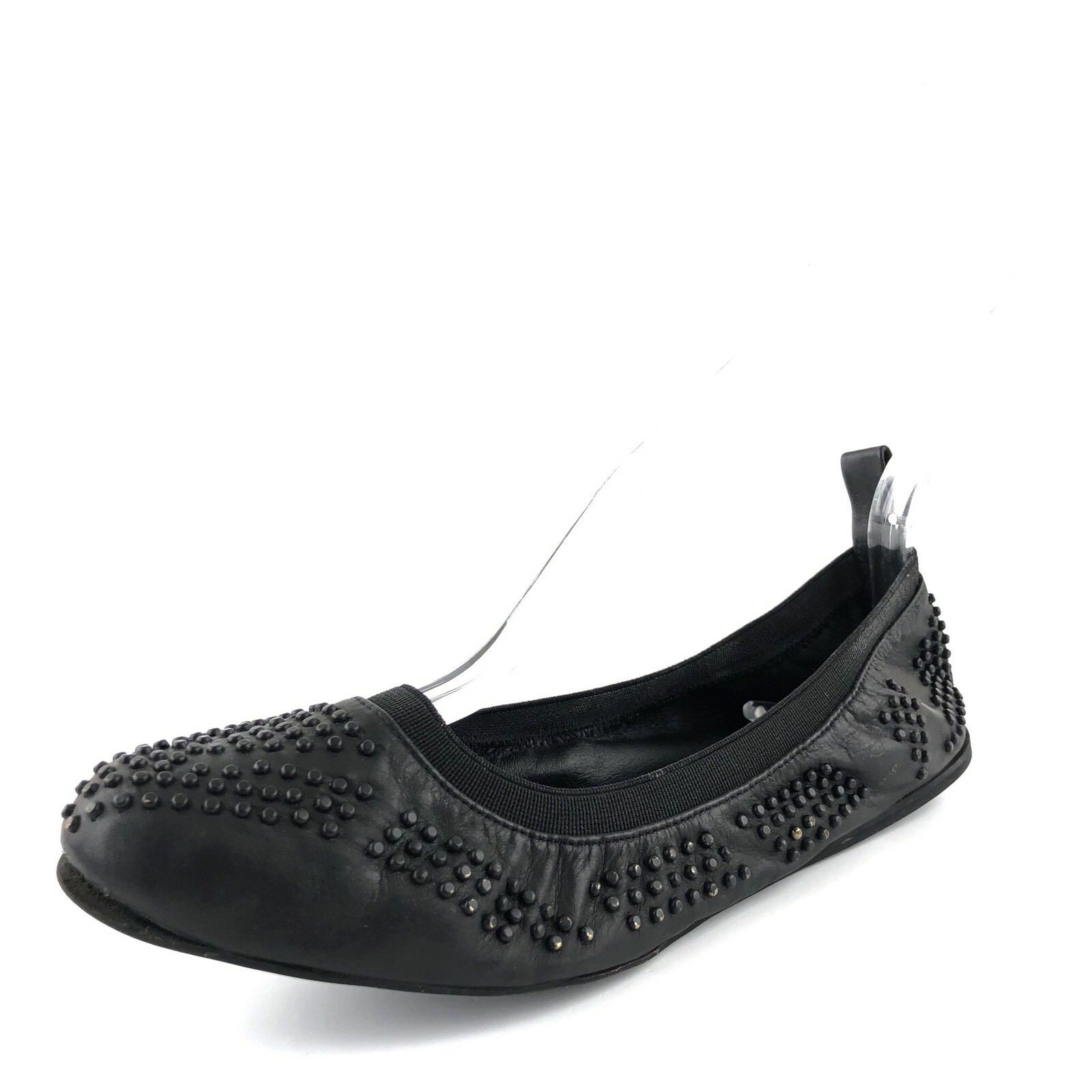 New See By Chloe Black Leather Studded Ballet Flats Women's Size 37.5 M