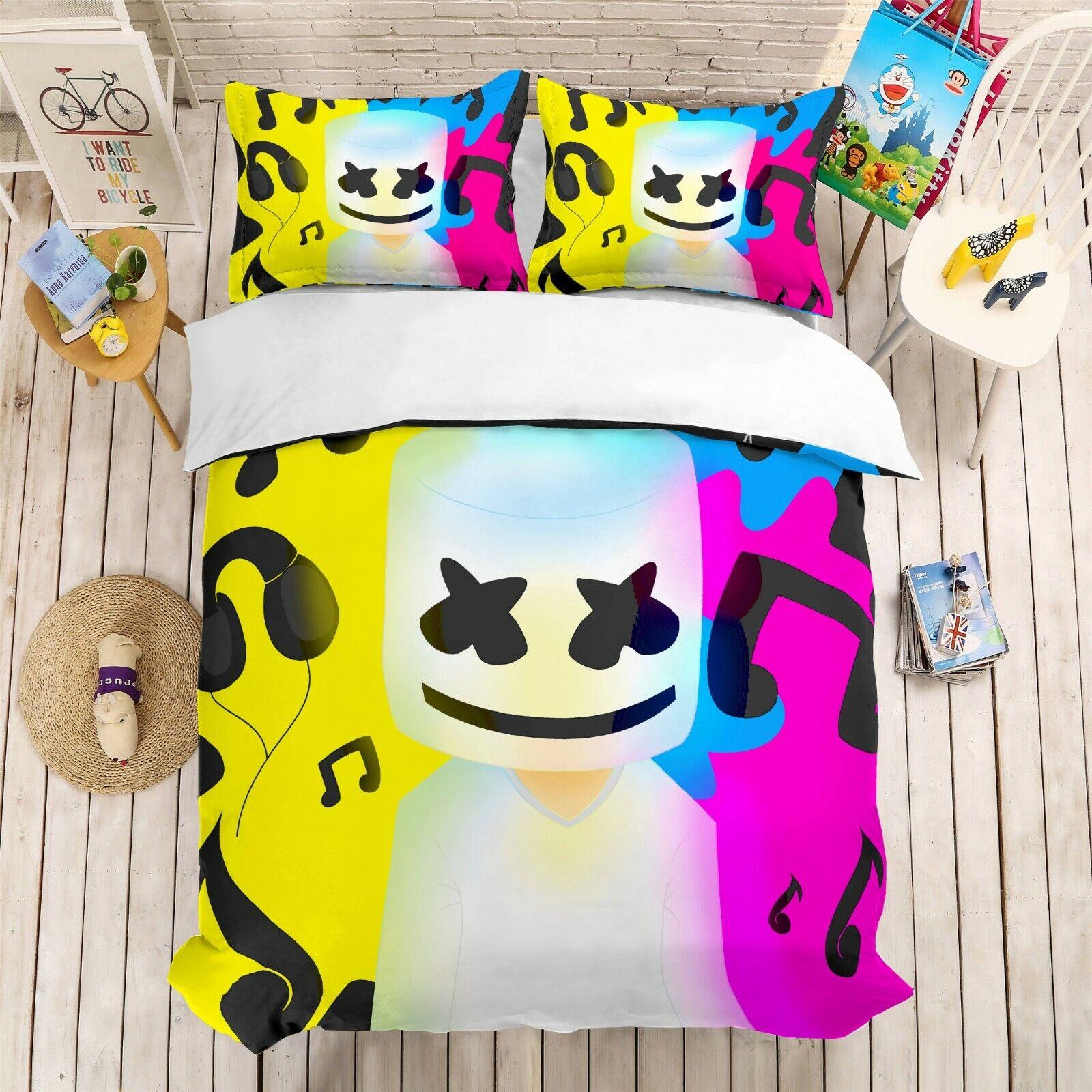 3D Coloreeful Marshmello Quilt Cover Set Bedding Duvet Cover Single Queen King 6