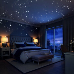 Details zu Leuchtpunkte 407 Stk. Leuchtaufkleber Sternenhimmel  fluoreszierend Schlafzimmer