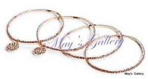 GUESS-Jeans-Rhinestones-Bangle-Bracelet-Rose-Gold-Tone-Charms-Pave-Logo-Set-of-4