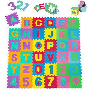 Tectake Tapis de Jeu Puzzle Mousse souple Alphabets & chiffres Env. 180 x cm