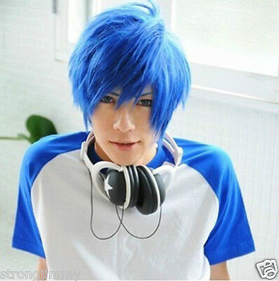 HOT@Lastest Very Soft Blue Mix Male Wig Cosplay Vocaloid Kaito Wigs R/A