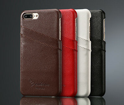 Genuine Real Leather Card Slot Hard Back Case Cover For iPhone 7 6 6s Plus 5 5S