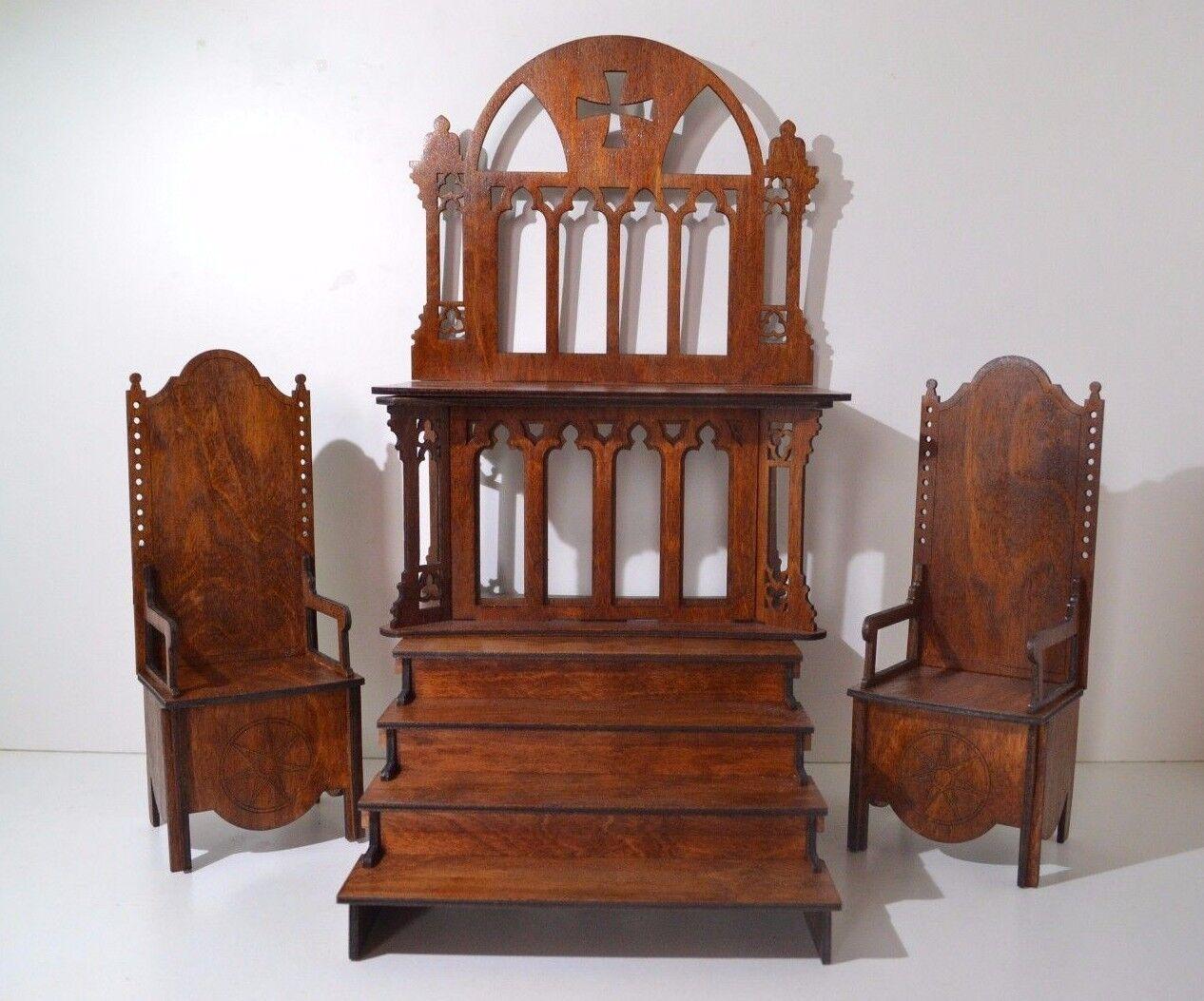 Católica Diorama altar podio 2 trono Silla Para Muñecas Barbie FR 12 en 1 6 Nuevo
