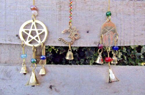Hand Made Brass Pentacle Pentagram Om Aum Hamsa Fatima Hand Hanging Mobile Chime