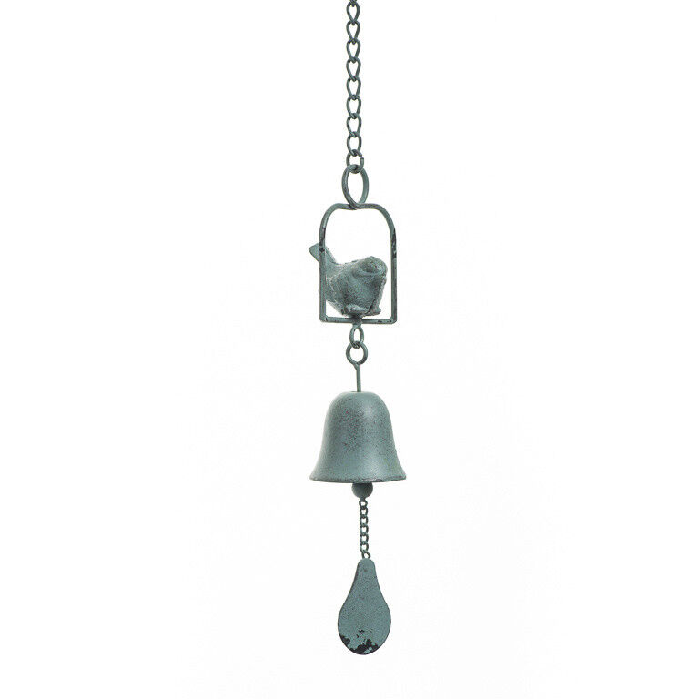 Aged Look Cast Iron Metal Bird Wind Chime Ornament Bell