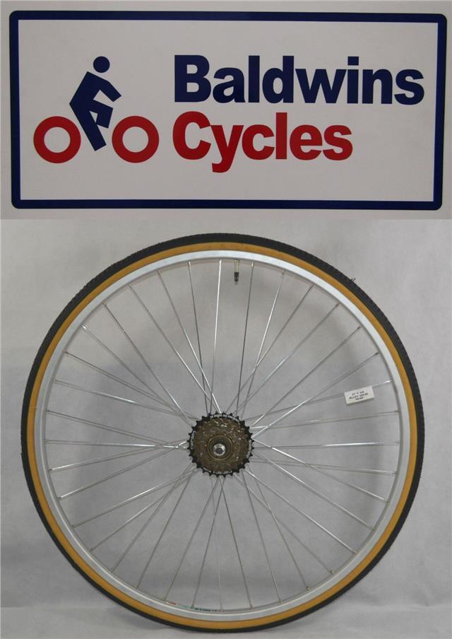 27  x 1 1 4 REAR Bike Wheel + Amber Wall Tyre & Tube + 6 Speed FreeWheel