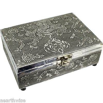 TREE OF LIFE WHITE METAL BOX LINED TAROT BOX Wicca Witch Pagan Goth