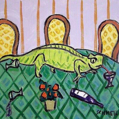 LIZARD WINE painting reptile animal art  4x6  GLOSSY PRINT