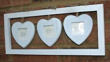 """White Hanging Heart Photo Frame Wall Shabby Chic Home Fits Photos 2"""" Wedding New"""