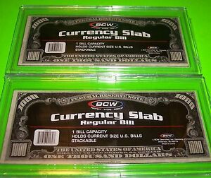 BCW Deluxe Currency Slab 4 2 11//16 X 6 1//4 Archival Regular Bill