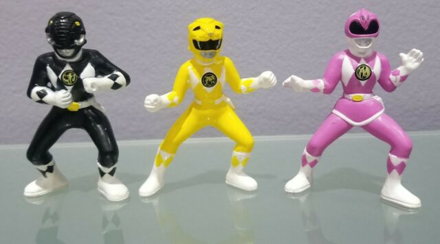 N) Lot of 3 Saban 1994 Mighty Morphin Power Rangers Figures Yellow Black Pink 3