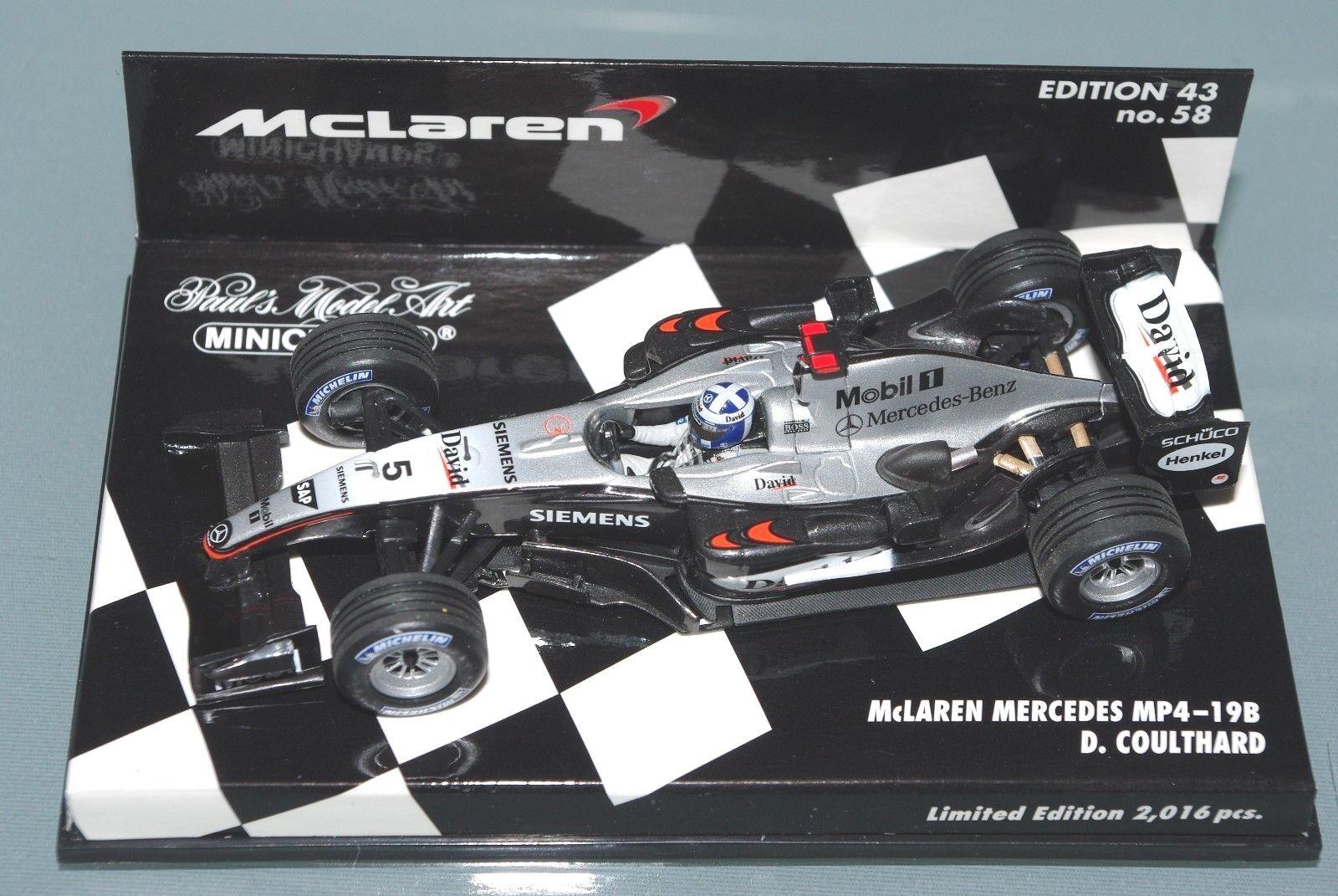 Minichamps F1 1 43 McLAREN MERCEDES MP4-19B - David Coulthard-édition  limitée  réductions et plus