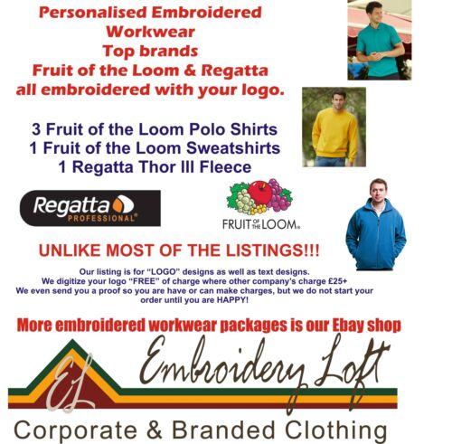 Fruit of the Loom Regatta PERSONALISED EMBROIDERED POLO SHIRT WORKWEAR PACK F//L1