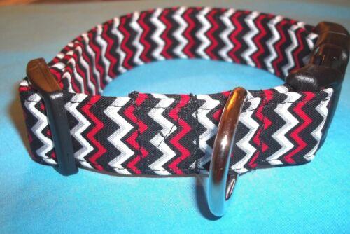 Red Black Tiny Chevron Terri/'s Dog Collar custom made adjustable Alabama colors