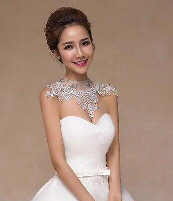 Bridal collar lace Rhinestone shoulder deco bib Halter large necklace NR502