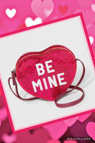 Girls Be Mine Valentines Day Glittery Pink Heart Crossbody Purse Bag Cat /& Jack