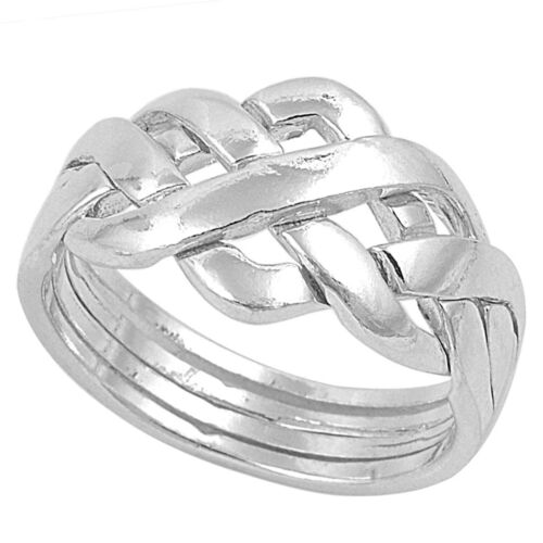 New Sterling Silver 4 Piece Interlocking Puzzle Ring