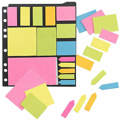Ringbinder Sticky Post It Notes Set Pad Memo Label Bookmark Pointer Neon Rainbow