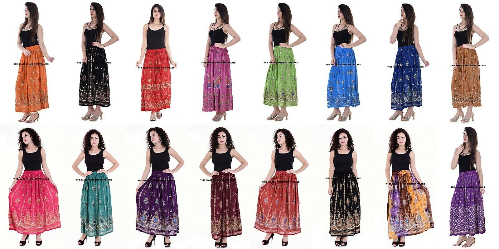 Indian Long Sequin Skirt Boho Bollywood Belly Dance Hippie Gypsy Skirt 10 PC LOT