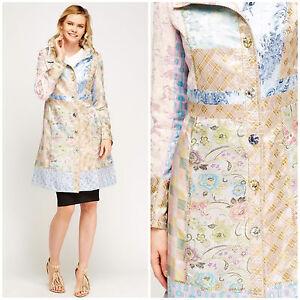 Womens-Multi-Patchwork-Mac-Jacquard-Pink-Blue-Beige-Pocket-Satin-New-Jacket-Coat