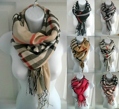 women PLAID/CHECK print pashmina long soft scarf stole wrap shawl cape UNISEX