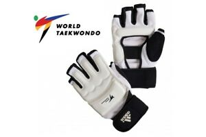 Adidas-WT-Fighter-Taekwondo-Gloves-Sparring-Mitts-Mens-Adults-White-WTF