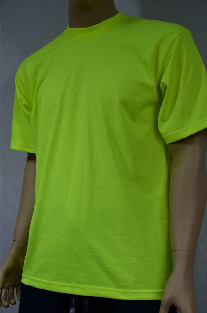 6 NEW PROCLUB S-5XL HEAVY WEIGHT T-SHIRTS SAFETY GREEN PLAIN TEE PRO CLUB BLANK