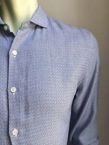 Bonobos Shirt, Textured Navy-White, Medium, Standard Fit, Exc Cond