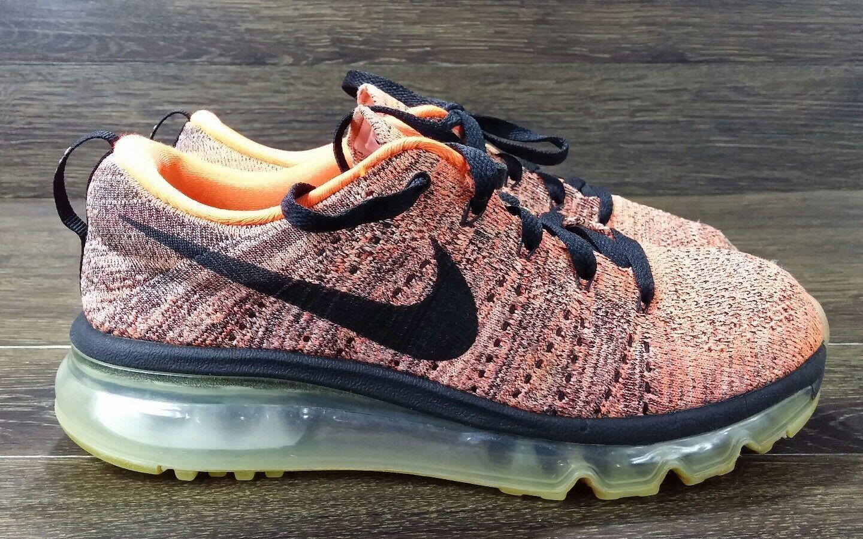 d99095373b Nike Flyknit Max Wmn Size 6 620659-008 BLACK HYPER orange SUNSET GLOW