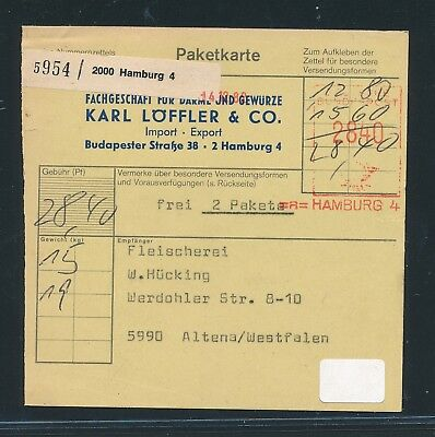 Post-fs 2840pf Für 2 Pakete Paketkarte 1982 Ab Hamburg 4 27746