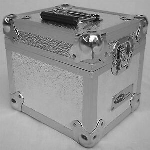 2-X-NEO-Aluminum-Silver-Storage-for-100-Vinyl-Records-7-034-Singles-DJ-carry-Case
