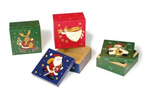 Geschenkboxen 4-er Set Weihnachten Holz Weihnachtsdeko