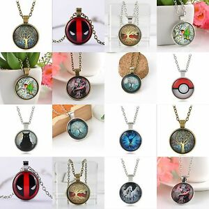 Vintage-Dragon-Tree-Cabochon-Tibetan-Silver-Bronze-Glass-Chain-Pendant-Necklace