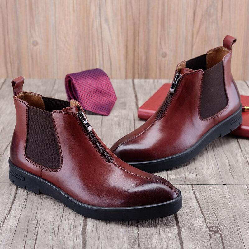 Nuevo Para Hombre botas al Tobillo Zapatos De Formal De Cuero Real resbalón en OBM7062
