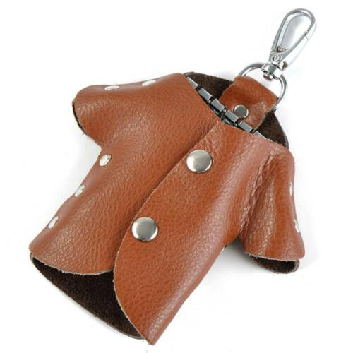 Creative Solid Color Genuine Leather Clothes Key Wallet Holder Organizer Key Bag